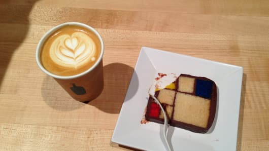 Blue Bottle Coffee and Mondrian Cake at a reception for Facebook's mystery announcement today.